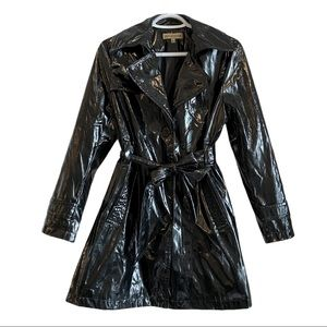 Vintage 90's black vinyl trench rain coat